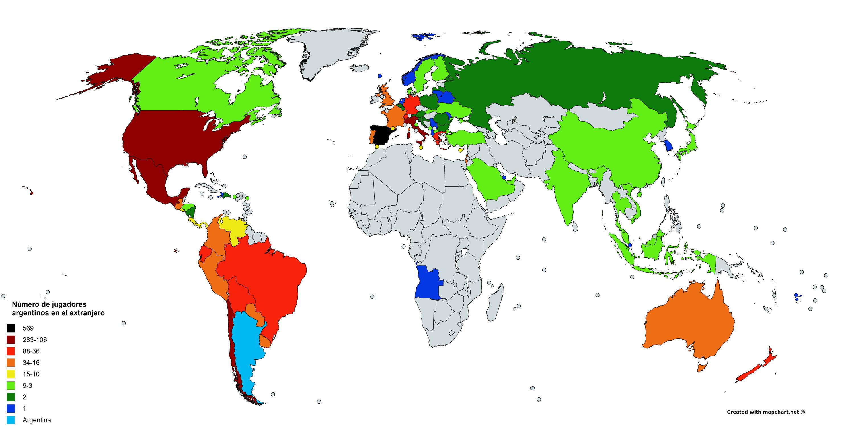 Mapa con los jugadores argentinos en el exterior, según la cantidad por países.ù